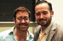 """Scott Fried (left), an award-winning international public speaker, HIV/AIDS educator and author gave a lecture titled """"AIDS, Love & Staying Alive"""""""
