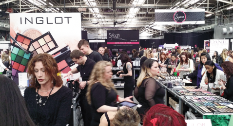 The Inglot makeup booth packed with shoppers looking for excellent deals on their high quality products