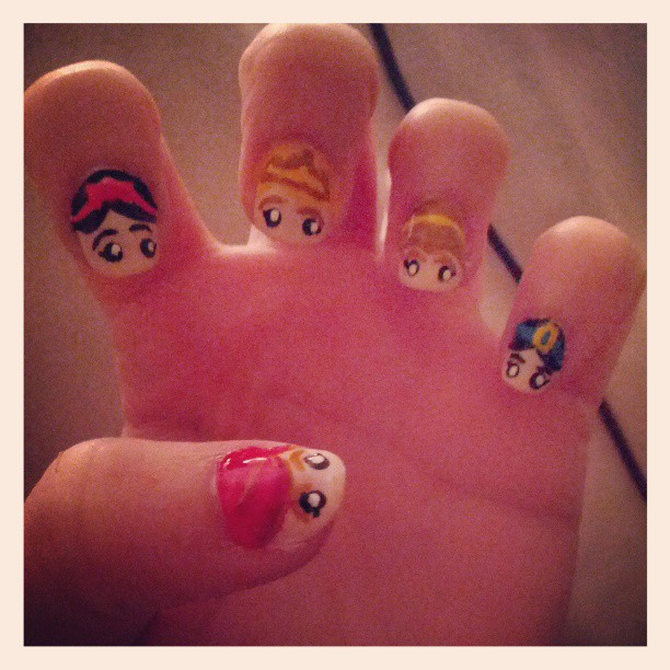 A nail look I did based on Disney Princesses