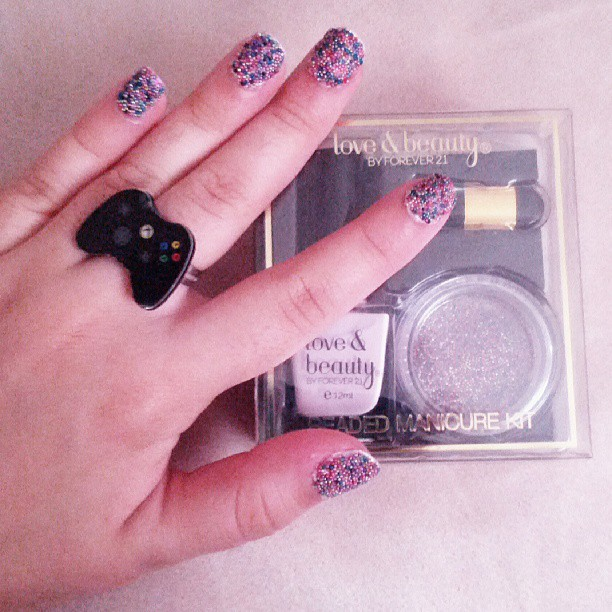 Beaded nails done with Forever 21's Love & Beauty nail set