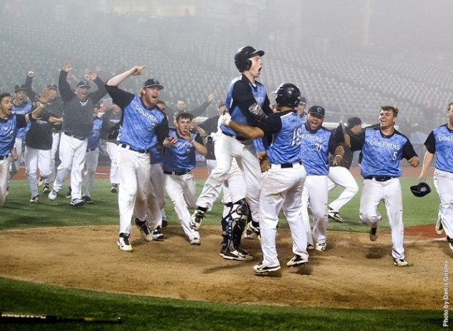 CSI Men's baseball team after winning the CUNYAC championships at MCU Ballpark in Brooklyn